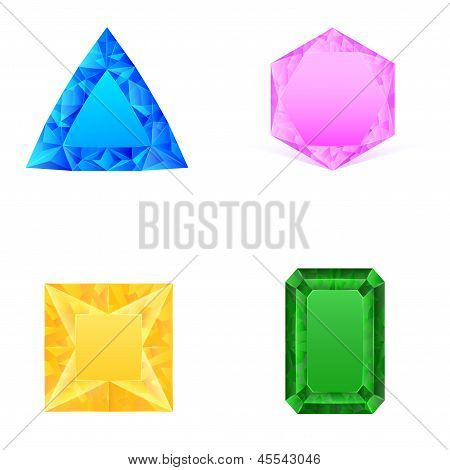 Set Of Blue Pink Yellow Green Jewels