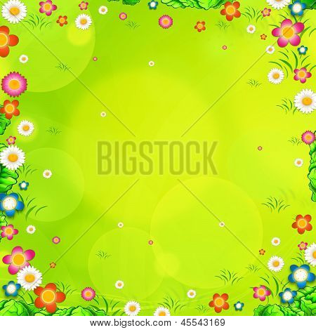 Spring Background With Meadow And Daisies