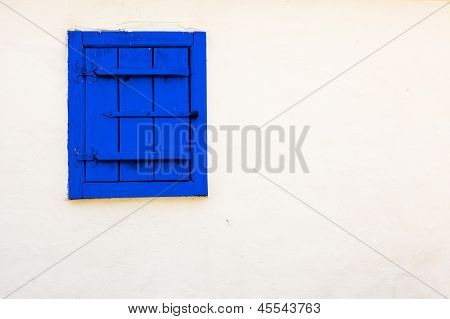 Blue Vintage Window On White Wall