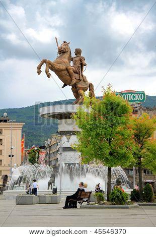 Sculpture Of Alexander The Great In Skopje