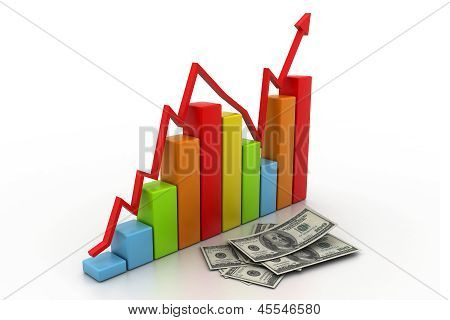 Business graph with money