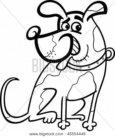 Dog Cartoon Illustration For Coloring