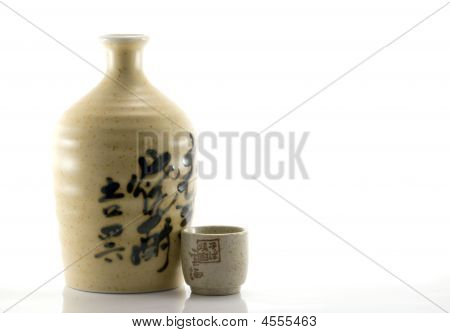 Clay Sake Bottle And Cup