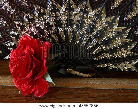 Red Rose & Black Fan