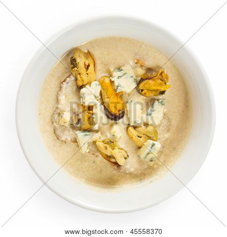 soup cheese food mushrooms isolated on white background