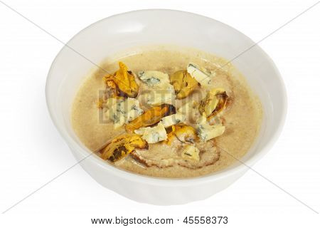 soup cheese mushrooms food isolated on white background