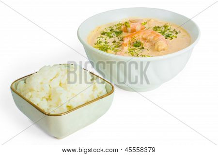 soup food shrimp rice plate isolated white background