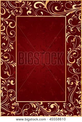 Gold Frame On Red Background