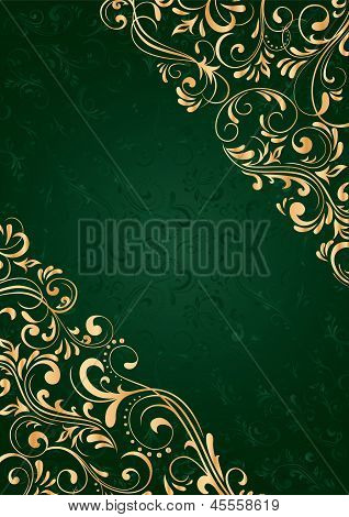 Green Background With Gold Pattern