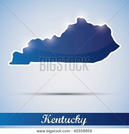 shiny icon in form of Kentucky state, USA