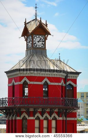 Red Clock Tower In Cape Town, South Africa