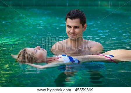 Happy Honeymoon In A Swimming Pool