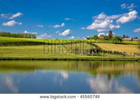 Green landscape and blue lake and sky