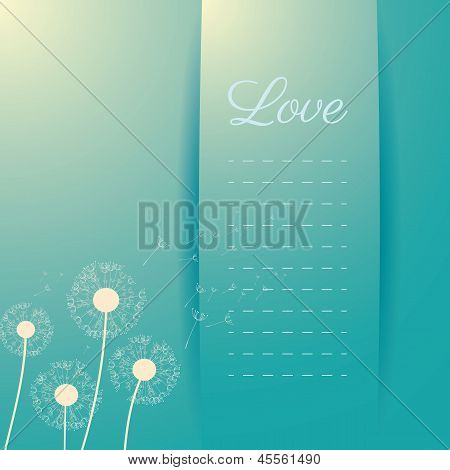 Flower dandelion seeds fly away in the wind, invitation card in white and light blue color