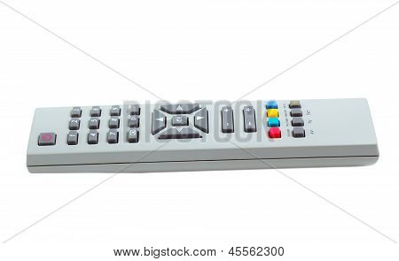 remote control tv silver isolated white background (clipping pat