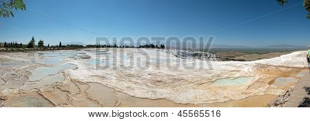 Travertine Pools That Are Drying Up At Pamukkale, Turkey.