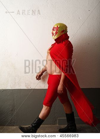 Luchador Walking Towards Arena