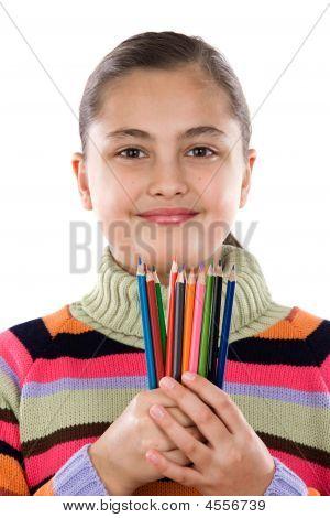 Adorable Mädchen mit vielen Crayons von Farben