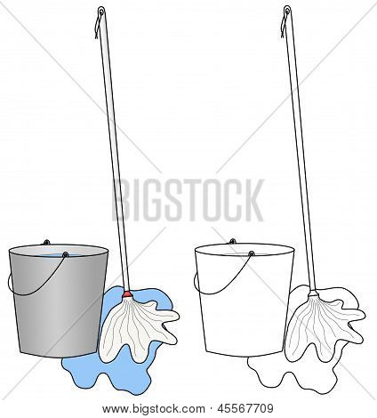 Water Bucket And A Broom Or Mop