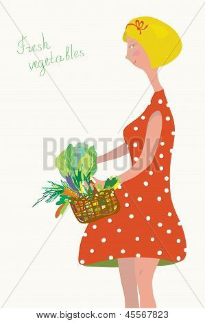 Cute girl with fresh vegetables vintage
