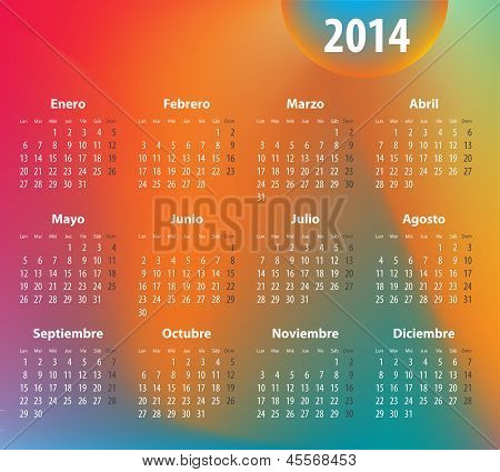 Spanish Colorful Calendar For 2014. Mondays First