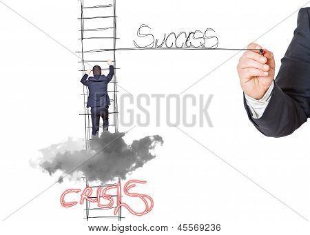 Businessmann On The Cloud S Success