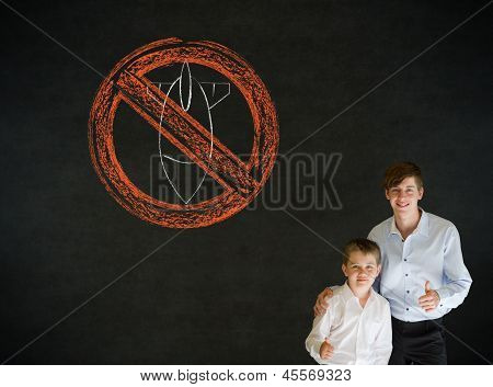 Thumbs Up Boy Business Man And Teacher With  No Bombs War Pacifist Sign
