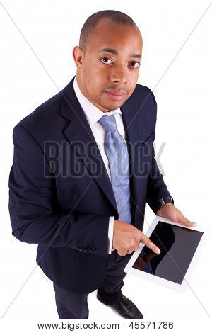 African American Business Man Using A Tactile Tablet - African People