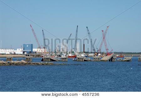 Cranes Rebuilding Causeway After Katrina, Biloxi