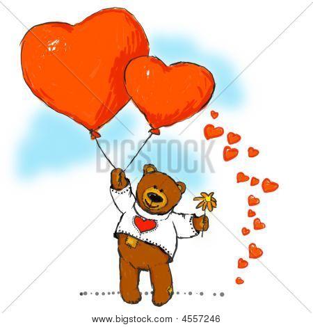Oso feliz con dos grandes corazones rojos y flores.