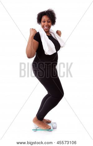 African American Woman Cheering On Scale  - African People