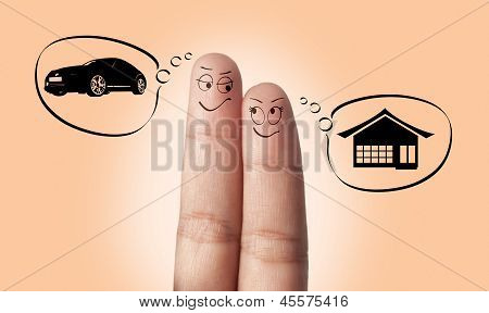 A finger couple in love dreaming