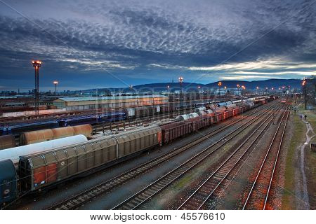 Cargo Transportatio With Trains And Railways