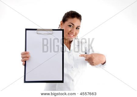 Smiling Doctor Indicating The Writing Board