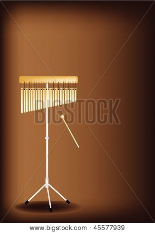 A Musical Bar Chimes On Dark Brown Background