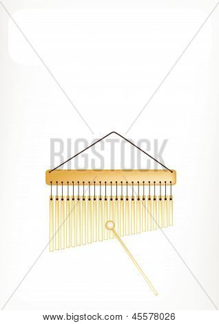 Beautiful Musical Bar Chimes With A White Banner