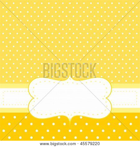 Sunny vector card or invitation with yellow background, white polka dots and white space