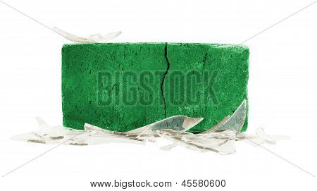 Brick With Broken Glass, Violence Concept