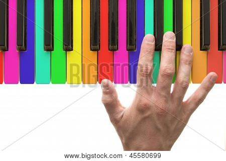 Rainbow Piano Keyboard With Hand