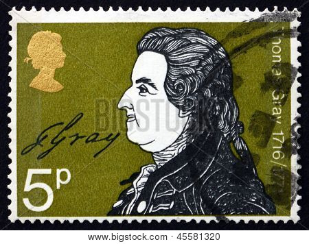 Postage Stamp Gb 1971 Thomas Gray, Writer