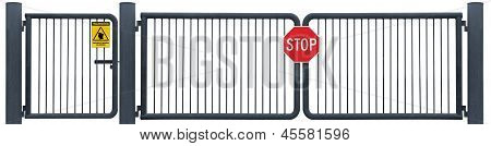 Grunge Aged Weathered Road Barrier Gate Stop Sign, Yellow Security Guard Patrol Warning Signage, Old