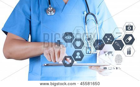 Medicine Doctor Working With Modern Tablet Computer And Virtual Interface