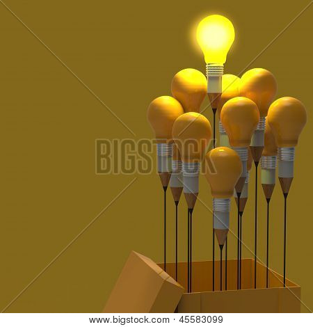 Drawing Idea Pencil And Light Bulb Concept Think Outside The Box As Creative And Leadership