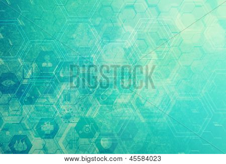 Abstract Metal Molecules Medical Background