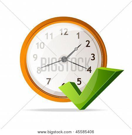 Reloj Vector icono y la marca de verificación