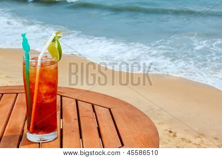 Americano cocktail with ice on the table