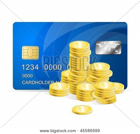 Vector Plastic card and coins