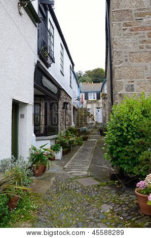 A narrow alley in Mousehole, Cornwall