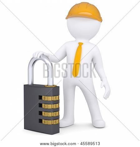 3d man in helmet with the combination lock