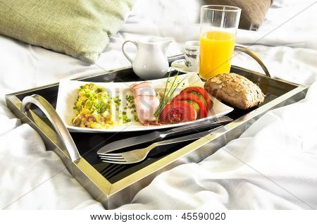 Healthy Breakfast Served To Bed
